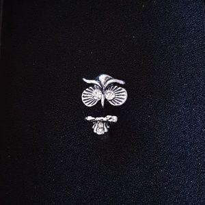 White Gemstone Owl Fashion Ring